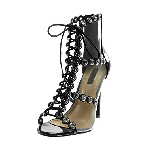 Angkorly Women's Fashion Shoes Sandals Pump Court Shoes - Peep-Toe - Stiletto - Perforated - Transparent - Laces Stiletto High Heel 11.5 cm Black 1PDSHrCCW