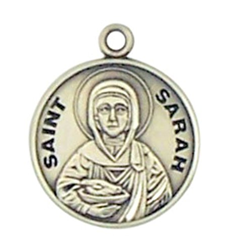 HMHReligiousMfg Sterling Silver Patron Saint Sarah Round Medal Pendant, 7/8 Inch