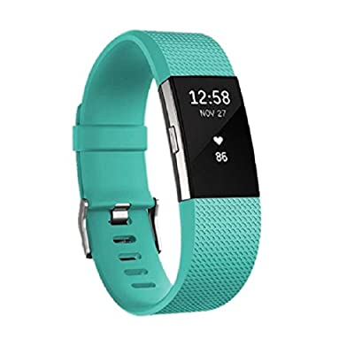 JOMOQ Fitbit charge2 Bands?Replacement Silicone Watchband Style/Wireless Activity Tracker Accessories Silicon Wrist Strap with Safety Watch Buckle/ Clasp