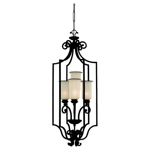 Nuvo Lighting 60 000 Cubica 6-Light Chandelier with Frosted Glass, Textured Black