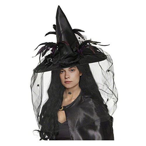 CA Mode Women Witch Hat Wizard Cap Headwear Spider Feather Halloween (Witches Costume Ideas For Adults)