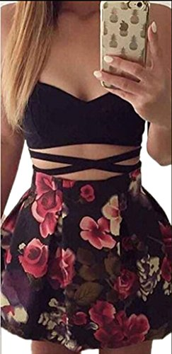 Mojessy Women's Summer Strap 2 Pieces Set Crop Top Skirt Floral Bandage Dress
