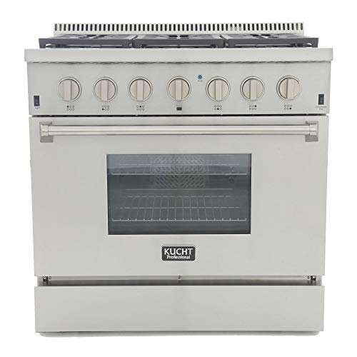Kucht KRD366F/LP KRD366F/LP-S Professional 36″ 5.2 cu. ft. Dual Fuel Range for Propane Gas, Stainless-Steel, Classic Silver