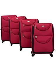 Dumont 4-Piece Expandable Lightweight Spinner Wheeled Luggage, Red