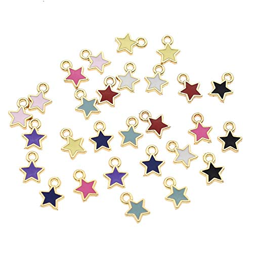 50pcs Mixed Color Zinc Alloy Enamel Mini Star Charms for DIY Necklaces Bracelets Jewelry Accessories (Star)