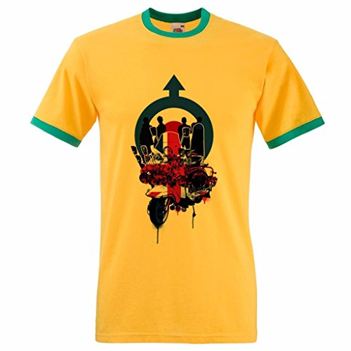 Men's Union Jack Mod Scooter Roundel Target Northern Soul Ringer T Shirt Yellow & Green XL