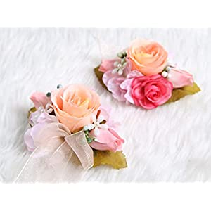 Charming Flower Boutonniere Pins for Wedding prom (2pcs) (Pretty Oldrose theme) 90