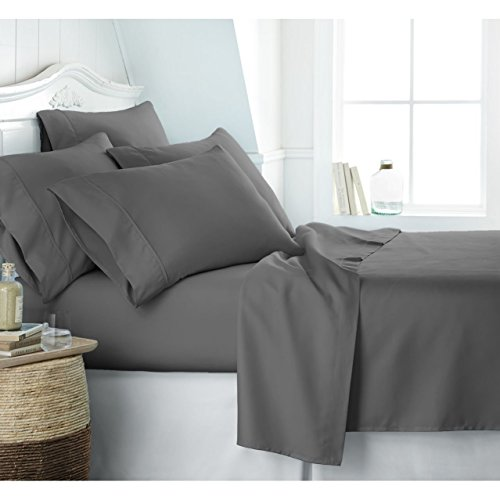 Egyptian Luxury 1800 Hotel Collection Bed Sheet Set - Deep Pockets, Wrinkle and Fade Resistant, Hypoallergenic Sheet and Pillow Case Set - (Queen,Gray) (Egyptian Cotton Pillow)