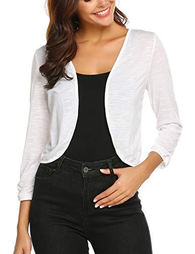 Parabler Bolero voor dames, korte 3/4 mouwen, gebreide jas, schouderjas, shrug top, casual top