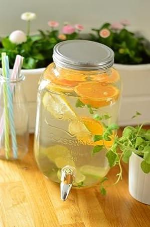 Dispensador de bebidas Bebidas dispensador de cristal, con grifo Zumo Jarra de cristal 4L: Amazon.es: Hogar