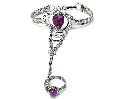 (Mia Jewel Shop Boho Teardrop Silver Cuff Harem Bracelet with Ring (Tree Silhouette Moon-Pink/Purple))