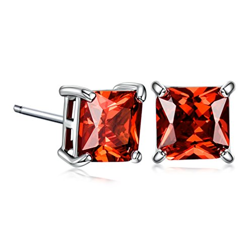 (GULICX White Gold Tone Garnet Color Huggie Earrings Red Stud 7mm Square Cubic)