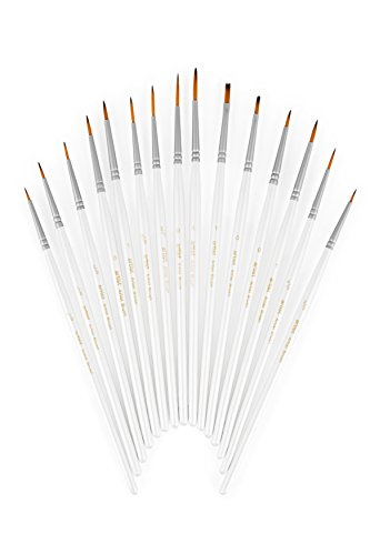 COMPLETE 15-Piece Fine Detail Paint Brush Set - The Best Choice For Detail Painting Projects When Using Enamel, Acrylic, Watercolor, or Oil. The Right Brush at Your Fingertips - Always. Enamel Water