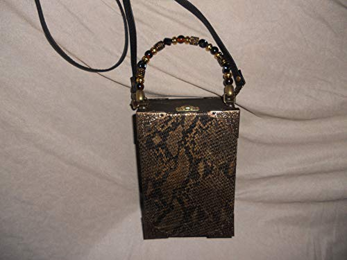 Cigarbox Purse, Taupe Neutral Embossed Snakeskin Leather, Tina Marie Purse Purse, Vintage, Animal Print Lining