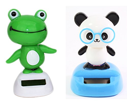 Dancing Fun Panda and Light Green Frog Animal Solar Power...