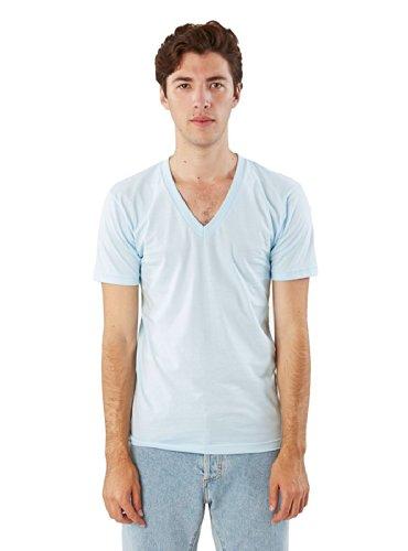 American Apparel V-neck Shirt - American Apparel Men Fine Jersey V-Neck T-Shirt Size L Light Blue