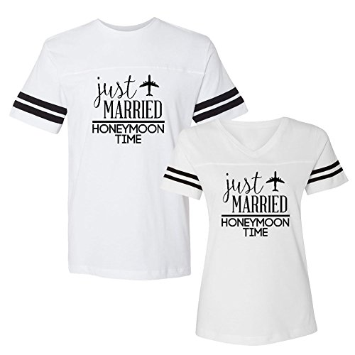 Good Lad Christmas Dress - We Match!! - Couple Shirts - Just Married Honeymoon Time - Matching Couples Football T-Shirt Set (Ladies Medium, Mens Large, White, Black Print)