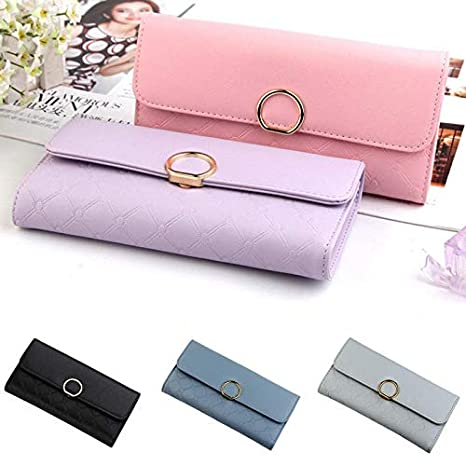 Women Lady PU Leather Wallet Purse Handbag Card Holder Bag Clutch Zipper BLUE