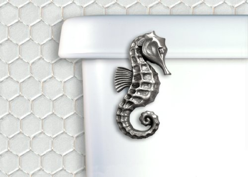 (Functional Fine Art Satin Pewter Seahorse Toilet Handle - Front Tank Mount)