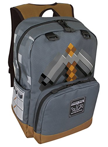 bfd64ce35564 Minecraft - Pickaxe Adventure Kids Backpack Grey. by JINX