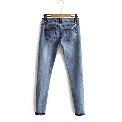 De Remache Mezclilla Lowwaist Lápiz Mujeres Bf Mujer Para Elásticos Blau Casuales Pantalones Rectos Estilo Vaqueros xO4v4q1