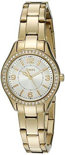 Gold Tone Crystal Bezel Watch - 1