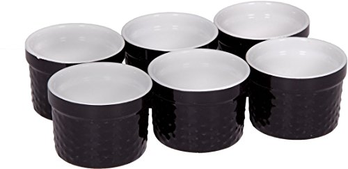 - Palais Dinnerware Ramekins Collection Porcelain Soufle Dishes (4 Oz - Set of 6, Black - Dots Finish)