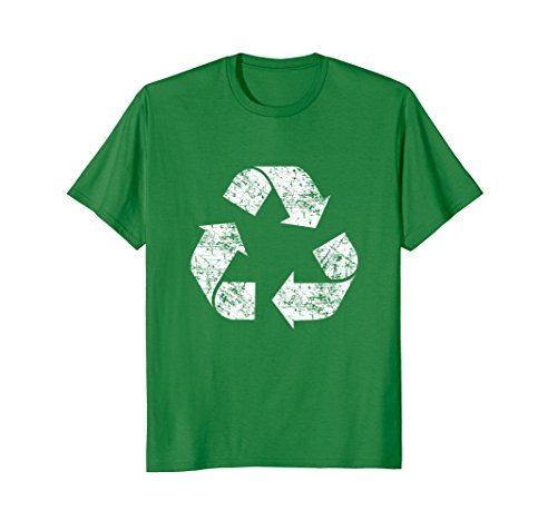Mens Recycle Symbol Shirt, Distressed Earth Day Environment Gift Medium Kelly Green (Recycle Symbol)
