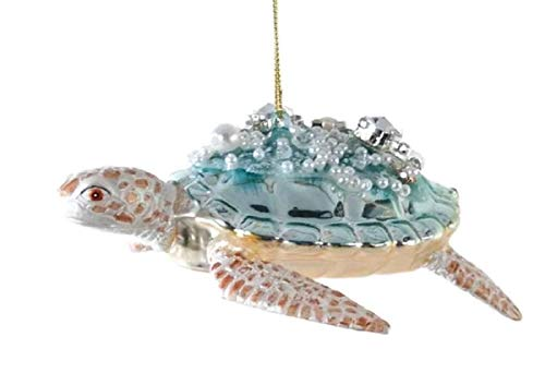 (Katherine's Collection Christmas Sea Turtles Encrusted with Multi-Size & Color Faceted Gemstones and Pearls Buyers Choose Pale Blue or Aqua (Pale Blue))