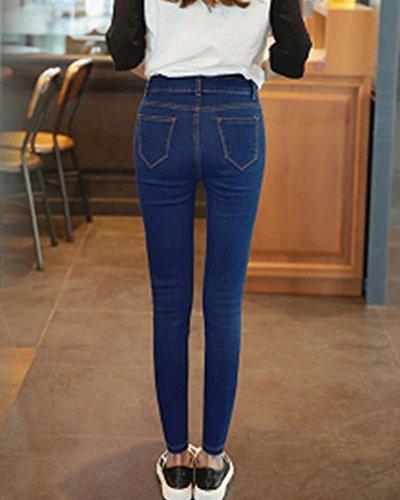 Jeans Blu Elasticizzati Pantaloni Ginocchia Stretti Vita Fit Alta Strappati Slim Donna PdnwqA1P