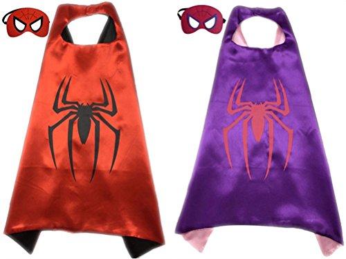 Pack of 2 Superhero Princess CAPE & MASK SET Kids Children's Halloween Costume (Spiderman & (Halloween Masks Sydney)