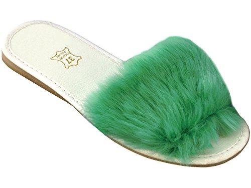 la Vert en Semelle 36 Femme Saison 41 Pantoufle Bawal Taille Frapper Plate la la Clair I Caoutchouc Peluches Chaussons q4SFFZTyw7