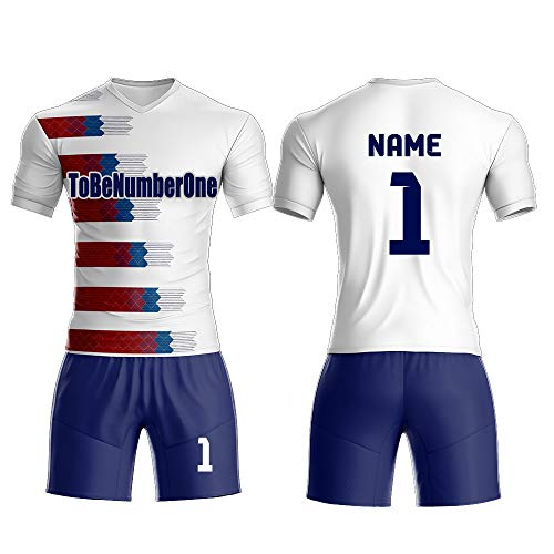 Custom Men's Sport Jersey Set Full Sublimated Soccer Uniform with Any Name,Number .2018 Classic Design (M, White)