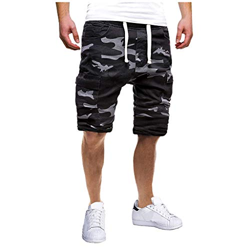 - Men's Drawstring Zipper Cargo Shorts, Mmnote Elastic Classic Sport Outdoor Dungarees,B-Camouflage