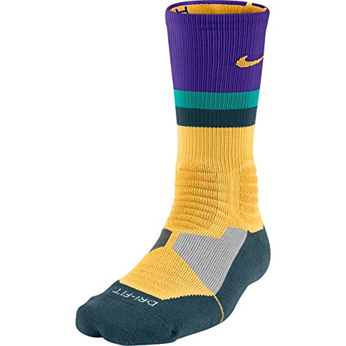 Nike Men's Hyper Elite Fanatical Basketball Socks Large (8-12) Orange Purple