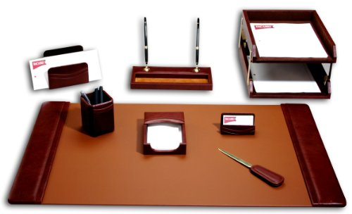 (Dacasso Leather Desk Set, 10-Piece, Mocha)