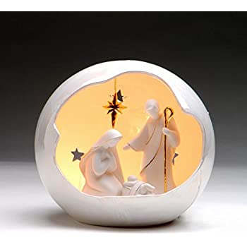 7-Inch Tall Appletree Design Overlooking Angel on Holy Family Nativity Includes Light Bulb and Cord Appletree Design inc 61258 Lighted
