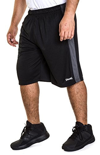 Spalding Mens Active Interlock Basketball Gym Athletic Workout Shorts with Contrast Side Pane,l Black/Asphalt, S