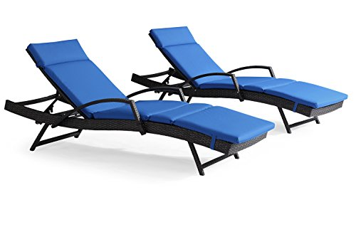 stable Pool Wicker Chaise Lounge Chair with Arms W/ Cushion, Patio Lounger Chair Furniture (Set of 2, Bronze with Caprl Blue) (Pool Lounger Cushion)