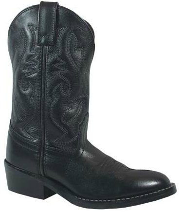 Black Kid Leather - Smoky Children's Kid's Black Leather Western Cowboy Boot