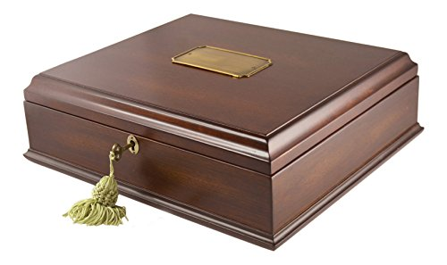 (Large Mahogany Wood Finish Memory Storage Treasure Box Organizer with Lock &)