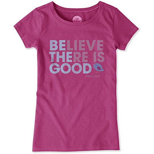 Life Is Good Girls Shirt (Life Is Good Girl's Crusher Believe There Is Good, Sassy Magenta, Large)