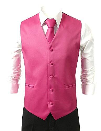 Cravate Moderne Élégant Hanky Tuxedo Col V avec Knoepproof Costume 5 Slim Boucle Fuchsia Et Gilet Fit Pour Homme En Casua pq6If
