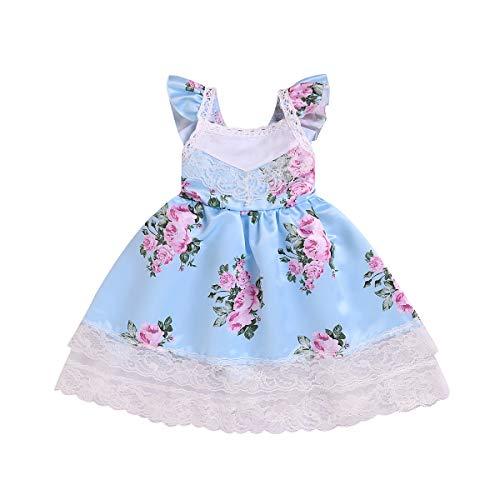 Baby Girl Dress, Toddler Infant Girls Floral Dress Party Birthday Wedding Lace Ruffle Tulle Formal Dresses Sundress (Light Blue, -