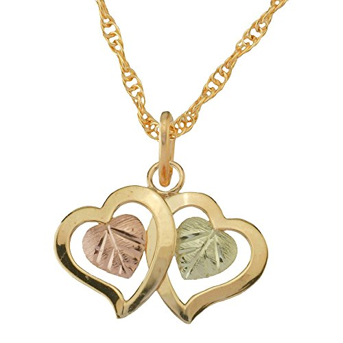10k Black Hills Gold Double Heart Pendant Necklace