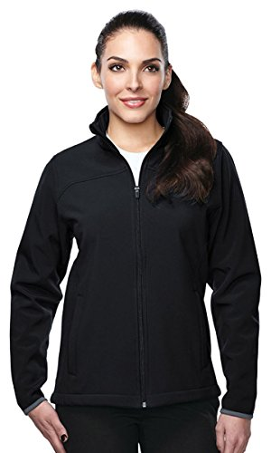 Bonded Shell Color - Tri-Mountain Lady Quest Soft Shell Bonded Jacket, XL, BLACK/BLACK