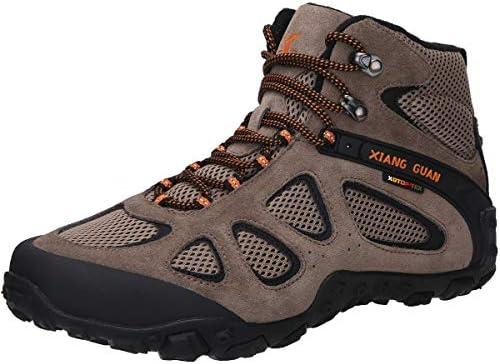 XIANG GUAN 登山靴 トレッキングシューズ ウォーキングシューズ ハイキングシューズ 男女兼用 牛革 レースアップ 完全防水 滑り止め 衝撃吸収 軽量