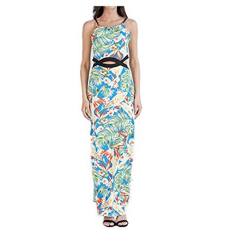 Isbxn Vestido de Temperamento Elegante de la impresión Digital de la Honda sin Mangas de la Cintura del Bolso de Las Mujeres Atractivas (Color : Pink, Size : XL) Blue