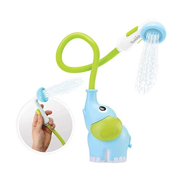 Yookidoo Baby Bath Shower Head – Elephant Water Pump and Trunk Spout Rinser – for Newborn Babies in Tub Or Sink (Blue)