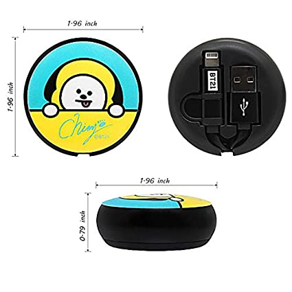 Amazon.com: BT21 5-pin 8-pin C-type 2IN1 round cable High-speed charging support Compact reel-type cable (SHOOKY, CTYPE): Cell Phones & Accessories